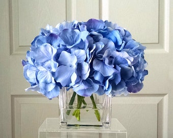Fake blue flowers etsy silk floral arrangement flower arrangement silk flowers blue hydrangeas silk faux arrangement mightylinksfo Images