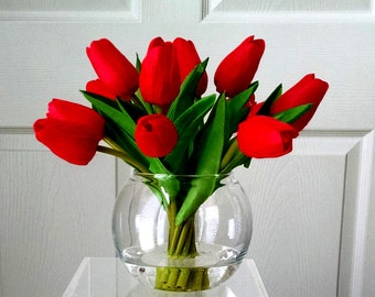 Flowers Centerpiece-Faux Floral Arrangement- Arrangement-Silk faux arrangement -Fake flowers-Red Tulips