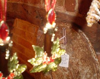 Danish Crystal Burning Candle Christmas tree decoration on Organza Ribbon.