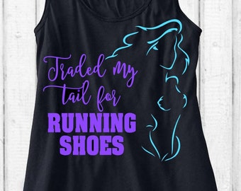 Little Mermaid Running Tank!  Traded My Tail For Running Shoes Ariel Workout Tank Run Disney Flowy Tank Top Customize Colors