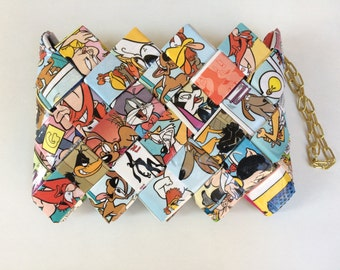 Looney Tunes wallet, Recycled comic book purse, Eco Friendly purse,candy wrapper mini purse/wallet/wristlet
