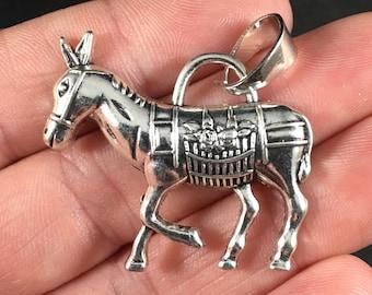 Tibetan Silver Donkey Pendant Necklace