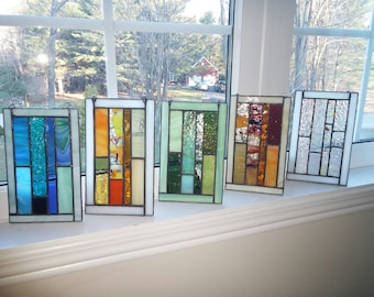 Abstract stained glass panel.Abstract suncatcher.Glass onament.Bridesmaid gift.Unique geometric design.Window panel art