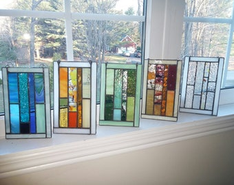 Abstract stained glass panel.Abstract quilt suncatcher.Glass onament.Bridesmaid gift.Unique geometric design.Window panel art