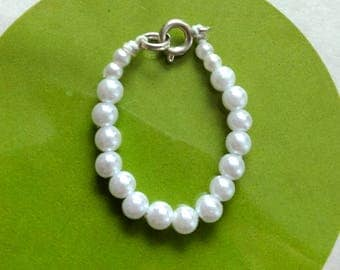 White beads necklace for Barbie. Handmade. Metal hook