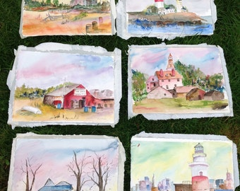 Watercolor paintings lot, group of water color paintings, set of paintings, original watercolor, building pictures, water color lighthouse