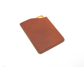 Minimalist Leather Card Sleeve • EDC front pocket wallet, minimalist wallet, ultralight front pocket wallet
