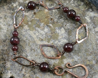 Garnet and copper bracelet
