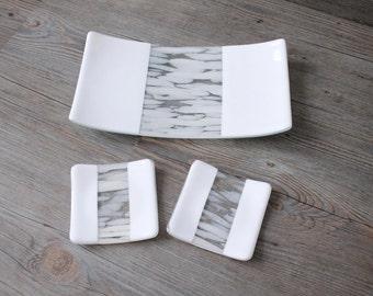 Modern White Fused Glass Sushi Dish Set; Fused Glass Trinket Dish; Candle Holder