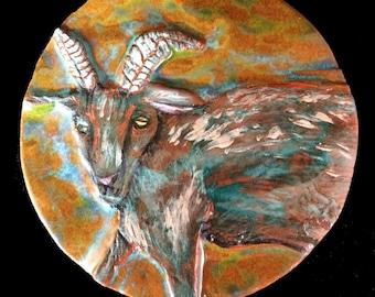 Rustic ceramic wall decor, single pottery goat tile, ceramic goat, ceramic tile, rustic wall art, earthenware goat decor, ceramic art