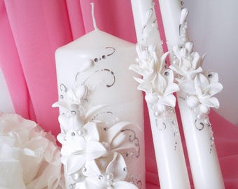 Set  Unity Candle White Silver Wedding Unity Candles Blush Wedding Candle Personalized Unity