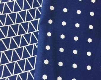 Navy Fabric, Navy Pentagon Dots, Navy Lines Fabric