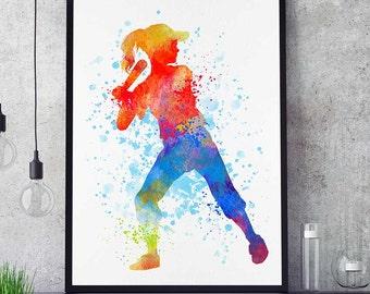 Baseball Sister Print, Softball Girl Wall Art, Watercolor Prints, Sports Decor, Kids Room Poster, Baseball Mom (N046)