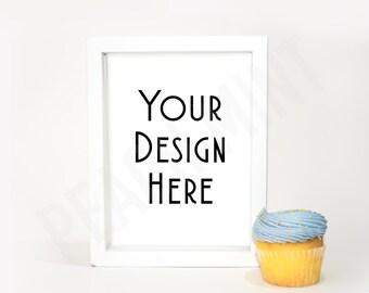 Blue Cupcake & Picture Frame | Digital Background | Mock Photography | Digital Wallpaper | Digital Background | Clip Art | Invitation Design
