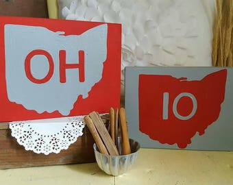 Small Pair of Ohio State wood sign OH IO