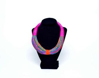 Multi colour leather tribal necklace