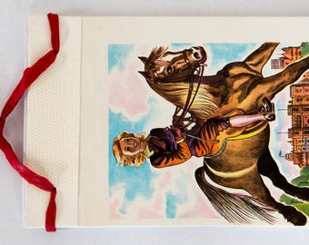 """Carnet de note vintage, illustration """"le petit lord Fauntleroy""""Frances Hodgson Burnett. fait main, Made in France, pièce unique, reliure"""