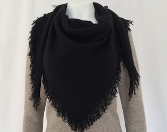 Cashmere shawl with fringes / cashmere fringed triangle shawl