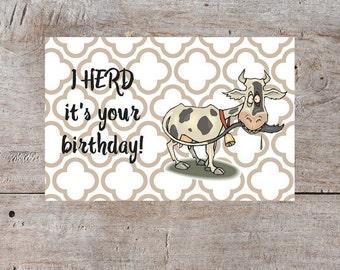 Cow Birthday Card, Pun Birthday Card, Funny Birthday Card, Cute Birthday Card, Hilarious Birthday Card, Printable Birthday Card, Cute Cow