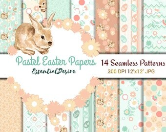 Easter Paper Pack, Pastel Easter Paper, Peach and Mint Paper, Cute Bunny, Easter Printables, Spring Digital Paper Pack, Baby Digital Paper