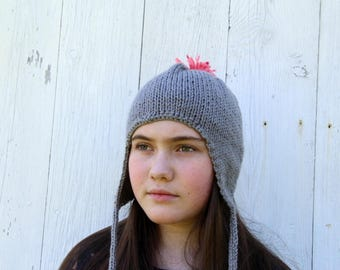 Gray Ear Flap Hat - Knit Gray Hat - Gray Pom Pom Hat - Pink Pom Pom Hat - Pink Ear Flap Hat - Tasseled Hat - Silver Knit Winter Hat