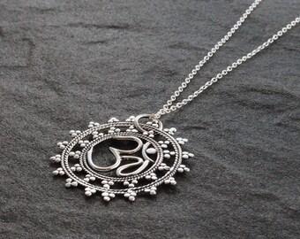 Silver Mandala Ohm Necklace, Silver Ohm Necklace, Om Pendant, Mandala Necklace, Om Charm, Yoga Pendant, Yoga Jewellery, Spiritual Jewellery