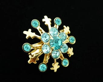 Teal Blue Rhinestone Brooch, Rhinestone Brooch, Antique Brooches, Scatter Pins, Small Pins, Vintage Pins, Antique Pins, C1950s