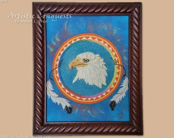 Sand Sculpture, Painting - American Bald Eagle Art / Native American Animal Spirit Medicine Wheel Art / Eagle Feathers/ - Framed, 11x14""