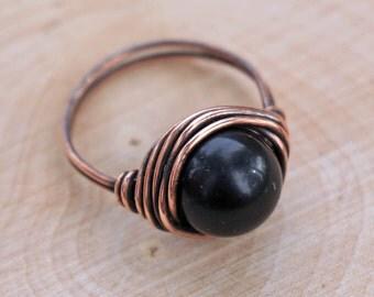 Obsidian Ring, Crystal Ring, Gemstone Ring, Crystal Jewelry, Wire Wrapped Crystal, Gemstone Jewelry