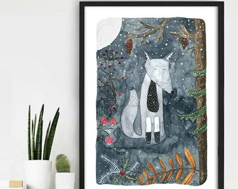 Watercolor Illustration,Wolf Winter Watercolor, Forest Watercolor Print, Home Wall Decor, Aquarel Painting, Woodland Art, Wolf