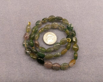 Moss Agate 5mm x 8mm oval shaped beads semi precious
