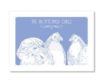 Fat Bottomed girls tea towel chicken, chook, hen, pekin, screenprint, blue, linen, cotton, rooster, bantam