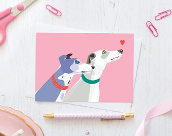Greyhounds greeting card / dog racing love heart pink hound whippet rescue greeting stationery polkadot collar