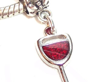 Red Wine Glass European Dangle Charm Bead fits Pandora and Snake Chain Bracelets