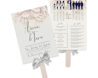 Wedding Program Fan - Forever Yours - Printable Wedding Fan, Wedding Paddle, Printable Program, Wedding Program, Order of Events