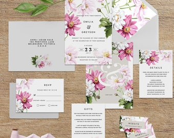 "Printable Wedding Invitation Suite ""Transfigure Deco"" - Printable DIY Invite, Affordable Wedding Invitation"