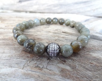EXPRESS SHIPPING,Labradorite Bracelet,Labradorite Jewelry, 8k Black Rhodium Plated,Swarovski Ball Bracelet,Mens,Womans Jewelry,Valentine's