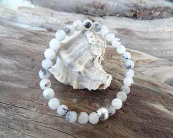 EXPRESS SHIPPING,White Striped Agate Bracelet,Personalize Bracelet,Stones Jewelry, Stretch Bracelet Unisex Jewelry, Gift for Her,Valentine's