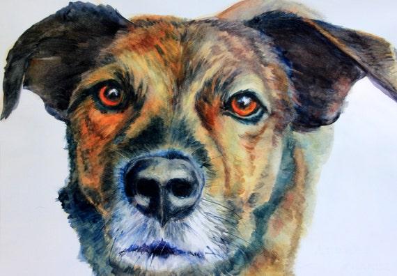 Pet portrait - Bonnie White pet portrait - custom dog painting - custom pet portrait - dog - pet - custom painting - watercolor - gorge art