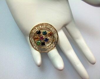 Vintage Multi Color Rhinestone Round Filigree Mother's Pin Brooch Designer Signed Carla 14k GF