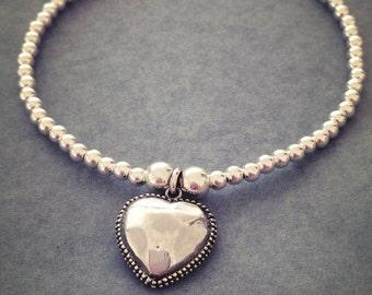 Sterling Silver Mirrored Heart Charm Bracelet