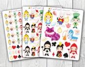 Alice in Wonderland, Queen of Hearts, Kawaii, Cute Stickers, Planner Stickers, Pretty,  Erin Condren, ECLP