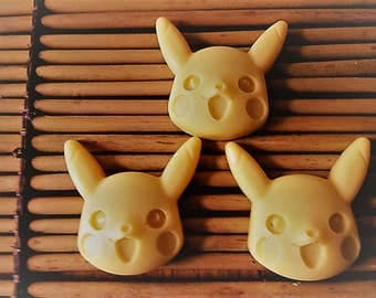 Pikachu Soap (3), Gift for kids, Novelty Soaps, great for party favors. made with coconut milk/shea butter/glycerin