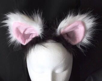 Black and White Cat Ear Headband Ready to Ship