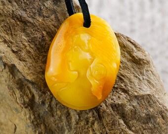 Zodiac of Maiden | Amber amulet Maiden | Yellow matt amber carving | Hand carving amber | Amber pendant | Amber amulet Maiden | Zodiac AV238