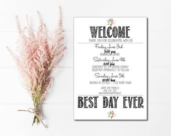 Best Day Ever printable Wedding Itinerary, welcome wedding itinerary for destination wedding, wedding schedule, destination wedding schedule