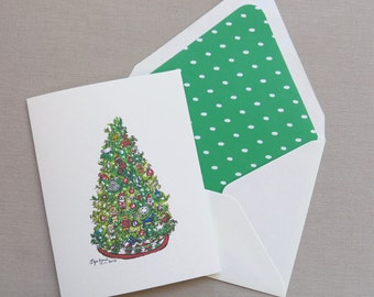 Watercolor Christmas Tree Card Painting - Green Christmas Tree Note Card