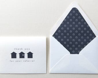 Real Estate Agent Thank You for Referral Card- Realtor Thank You Card - Navy Geo