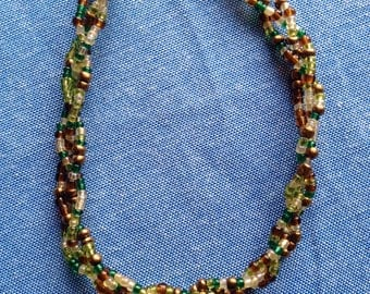 Special Green Mix Long Strands Necklace