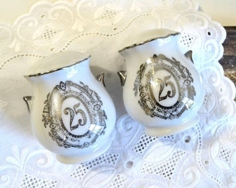 vintage silver anniversary salt and pepper shakers 25th wedding anniversary salt & pepper shakers